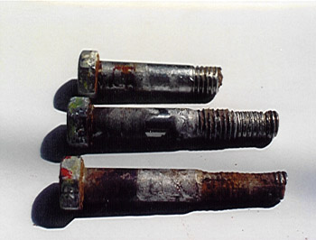 Crevice corrosion of through hull bolts