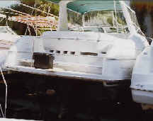 stopping or backing down out in the open ocean should be a real thrill in  this one with the open stern only a few inches above the water line