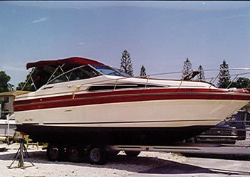 Our Survey Model Was A 1987 Boat With Single Mercruiser 330 Sterndrive Which Judging From The Lack Of Fading On Red Gel Coat Had Been Kept In