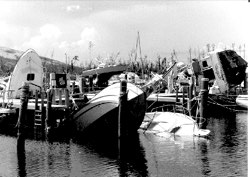 Damaged boats by Hurricane Andrew